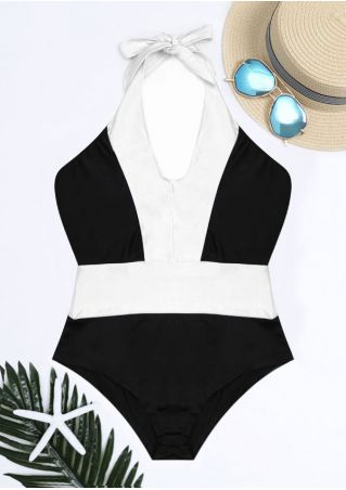Color Block Halter Sexy Swimsuit