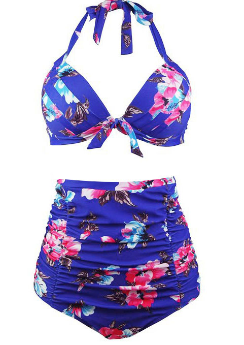Image of Plus Size Floral Halter Sexy Bikini Set