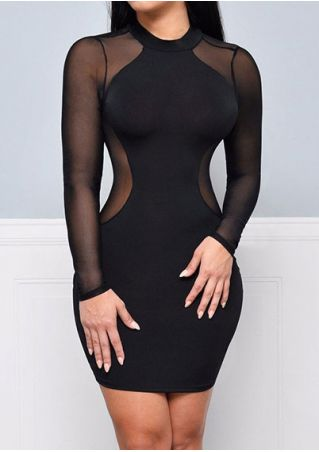 Solid Mesh Splicing Bodycon Dress