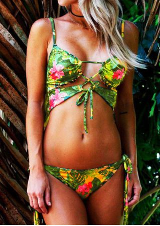 Floral Lace Up Bikini Set without Necklace