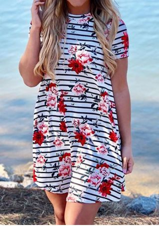 Floral Striped O-Neck Mini Dress