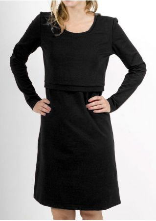Solid Long Sleeve Lactation Casual Dress