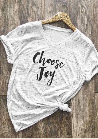 Choose Joy V-Neck Short Sleeve T-Shirt