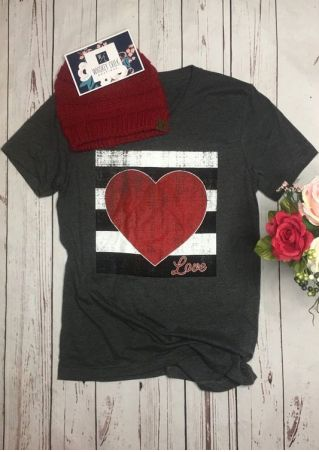 Striped Heart Love V-Neck T-Shirt