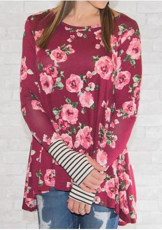 Floral Striped Splicing Thumbholes T-Shirt
