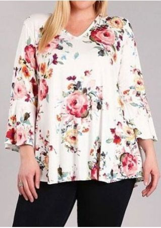 Plus Size Floral V-Neck Flare Sleeve Blouse
