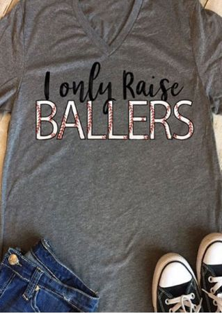 I Only Raise Ballers V-Neck T-Shirt