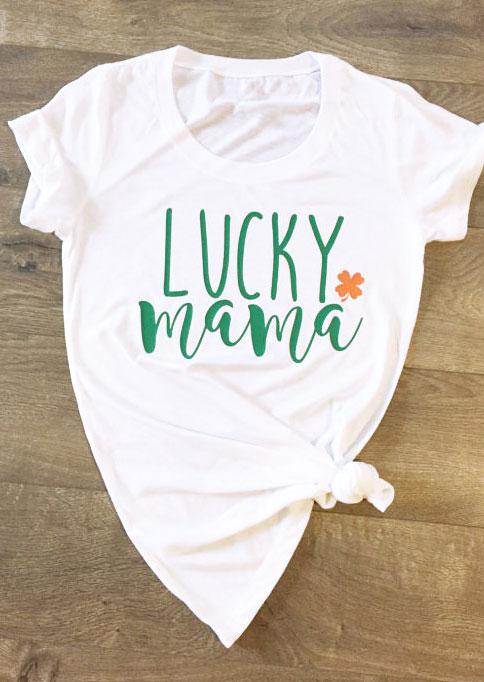 f9d975e45 Lucky Mama O-Neck Short Sleeve T-Shirt - Fairyseason