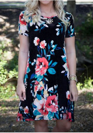 Floral Short Sleeve Casual Dress
