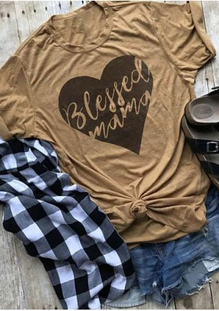 Blessed Mama Heart O-Neck T-Shirt