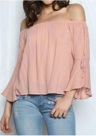 Solid Hollow Out Off Shoulder Blouse