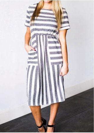 Striped Pocket O-Neck Casual Dress