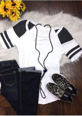 Striped Detail Criss-Cross T-Shirt