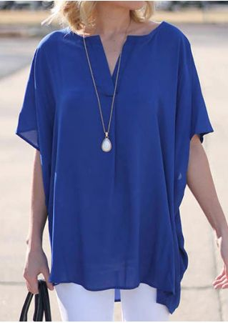 Solid Chiffon V-Neck Blouse without Necklace