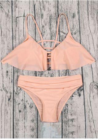 Solid Layered Hollow Out Bikini Set