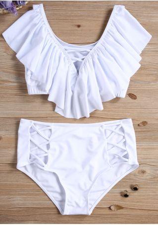 Plus Size Solid Criss-Cross Flouncing Bikini Set