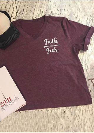 Faith Fear Arrow V-Neck T-Shirt