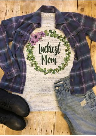 Luckiest Mom Floral Shamrock T-Shirt