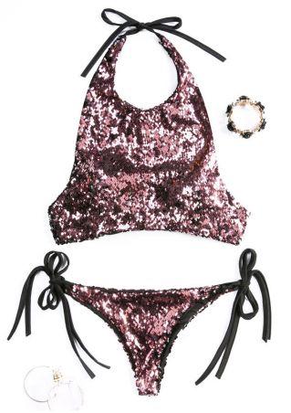 Sequined Splicing Tie Bikini Set