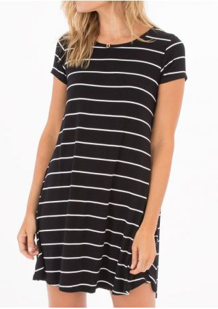 Striped O-Neck Short Sleeve Mini Dress without Necklace