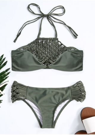 Solid Hollow Out Bikini Set