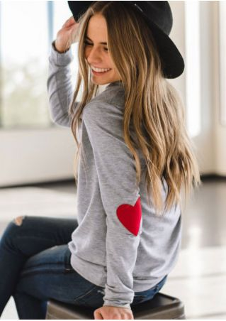 Heart Elbow Patch O-Neck T-Shirt