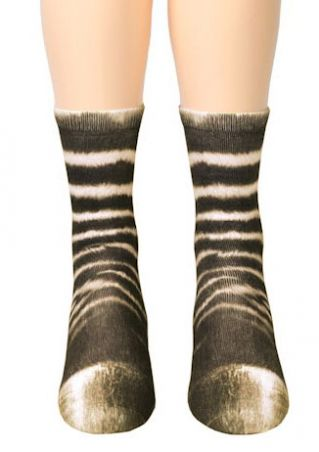Zebra Feet Simulation Crew Socks