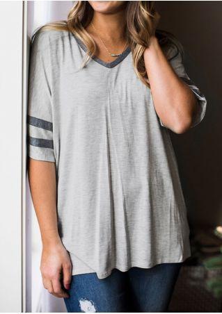 Striped V-Neck T-Shirt without Necklace