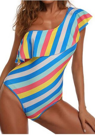 Striped Flouncing One Shoulder Swimsuit