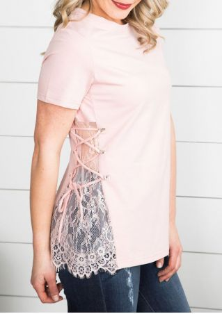Solid Lace Floral Lace Up Blouse