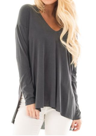 Solid Asymmetric V-Neck Blouse