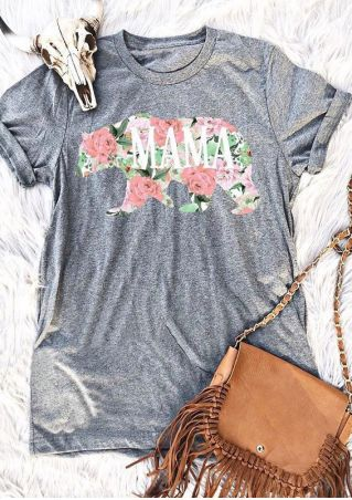 Floral Mama Bear Short Sleeve T-Shirt