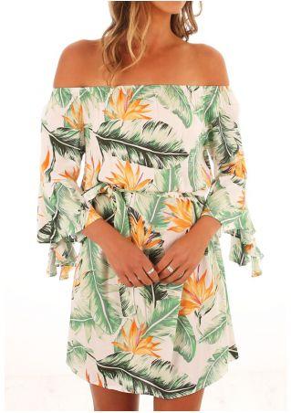 Floral Off Shoulder Flare Sleeve Mini Dress