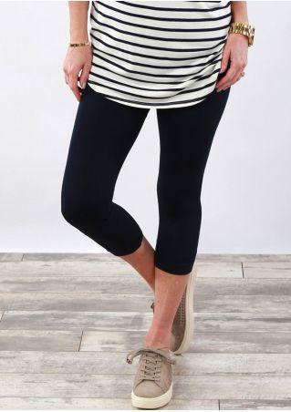 Solid Elastic Waist Skinny Leggings