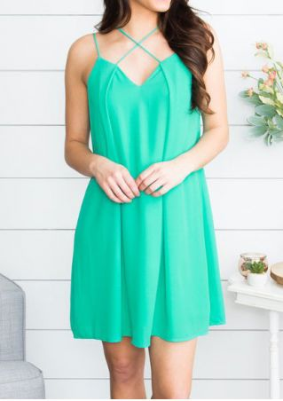 Solid Criss-Cross Mini Dress