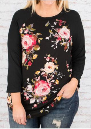 Plus Size Floral O-Neck Baseball T-Shirt