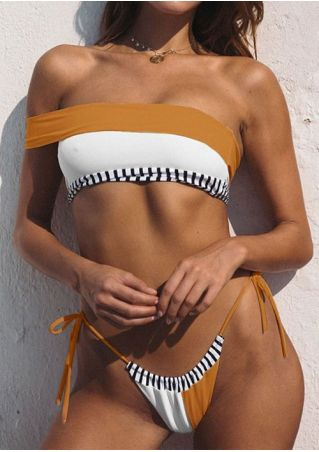 Striped Splicing String Bikini Set without Necklace