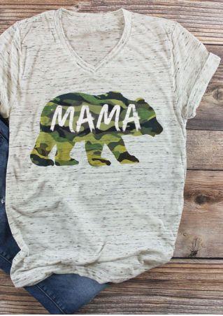 Mama Bear Camouflage Printed T-Shirt