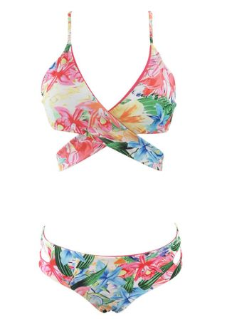 Floral Cross Hollow Out Bikini Set