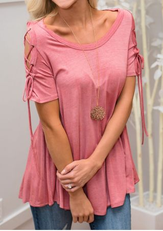 Solid Lace Up Blouse without Necklace