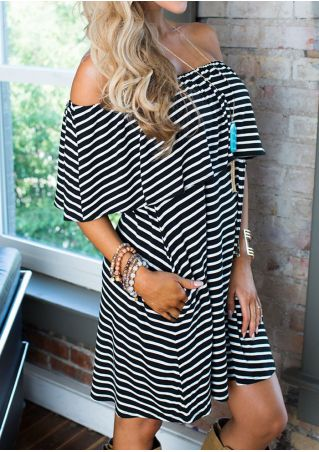Striped Flouncing Off Shoulder Mini Dress without Necklace