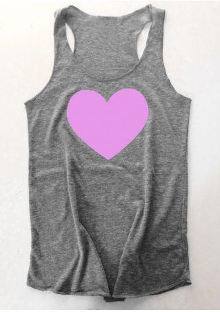 Heart Printed O-Neck Tank
