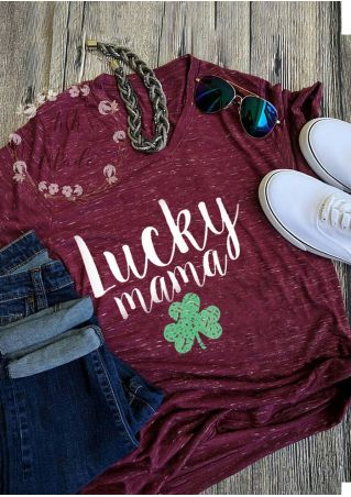 Lucky Mama V-Neck T-Shirt