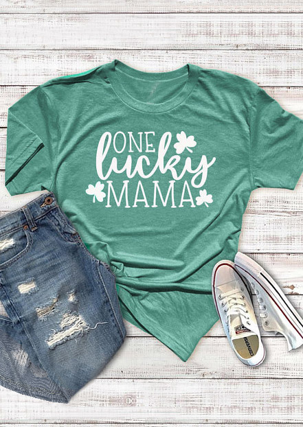 One Lucky Mama Shamrock T-Shirt Tee - Green фото