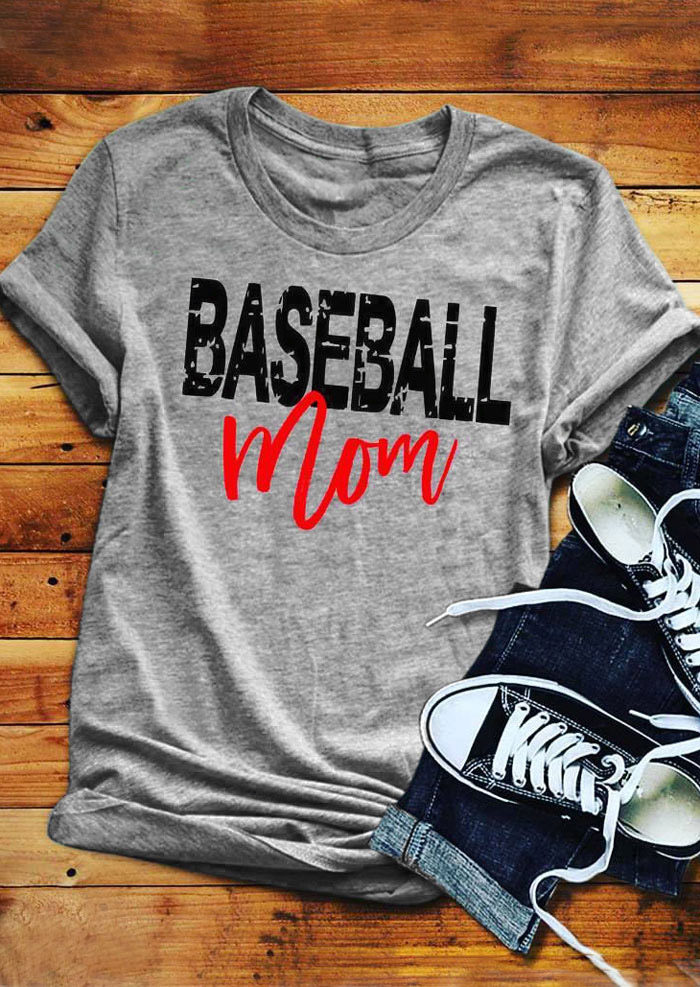 Baseball Mom O-Neck T-Shirt Tee - Gray