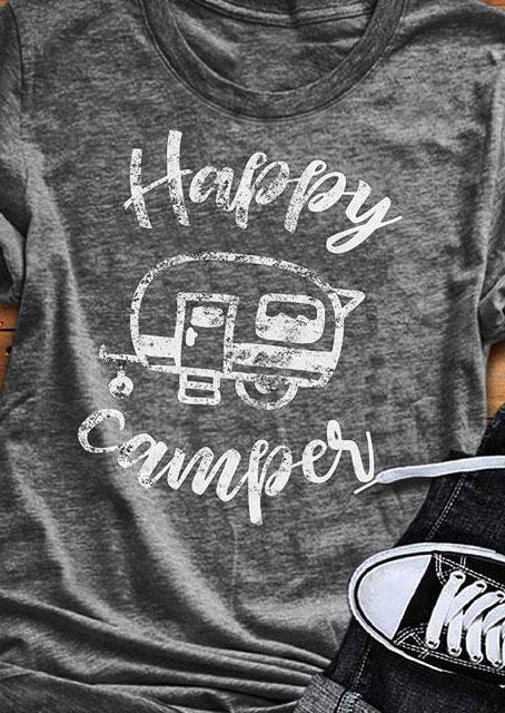 Happy Camper Short Sleeve T-Shirt фото