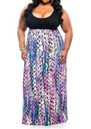 Plus Size Printed Sleeveless Maxi Dress