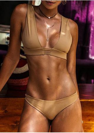 Solid Hollow Out Bikini Set without Necklace