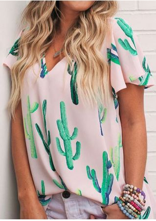 Cactus V-Neck Blouse without Necklace