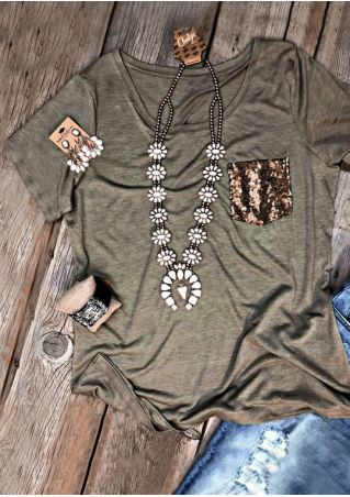 Sequined Pocket O-Neck T-Shirt